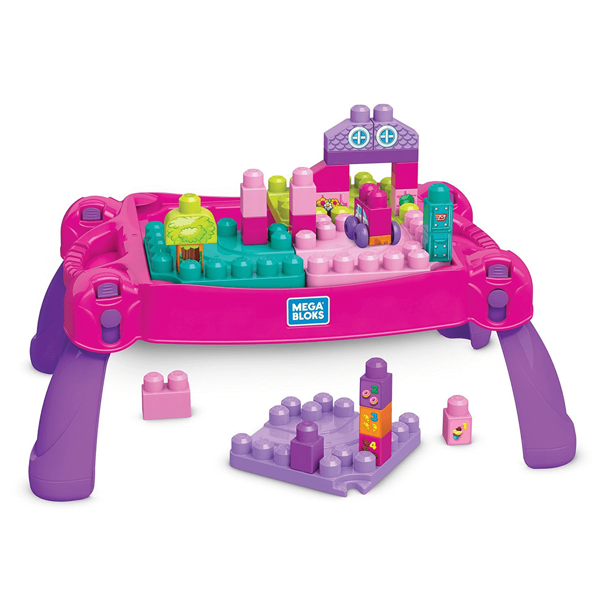 Mega Bloks Pink Build and Learn Table - 30 Pieces