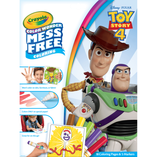 Disney Toy Story 4 Crayola Color Wonder Mess Free Book