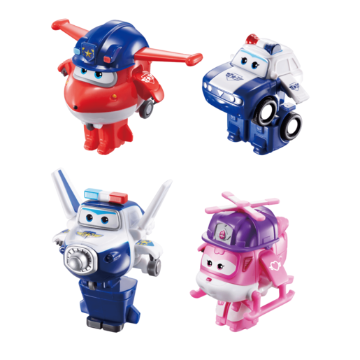 Super Wings Series 3 Transform a Bots - 4 Pack (Police Jett, Kim, Rescue Dizzy & Paul)