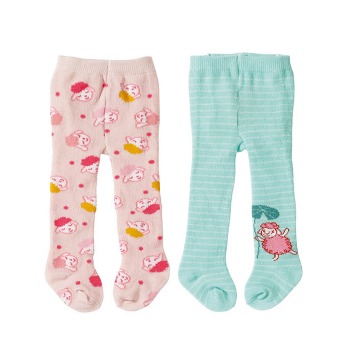 Baby Annabell Tights 2 Pack For 43cm Doll - Pink and Turquoise