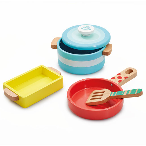 Early Learning Centre Wooden Kitchen Pots and Pans