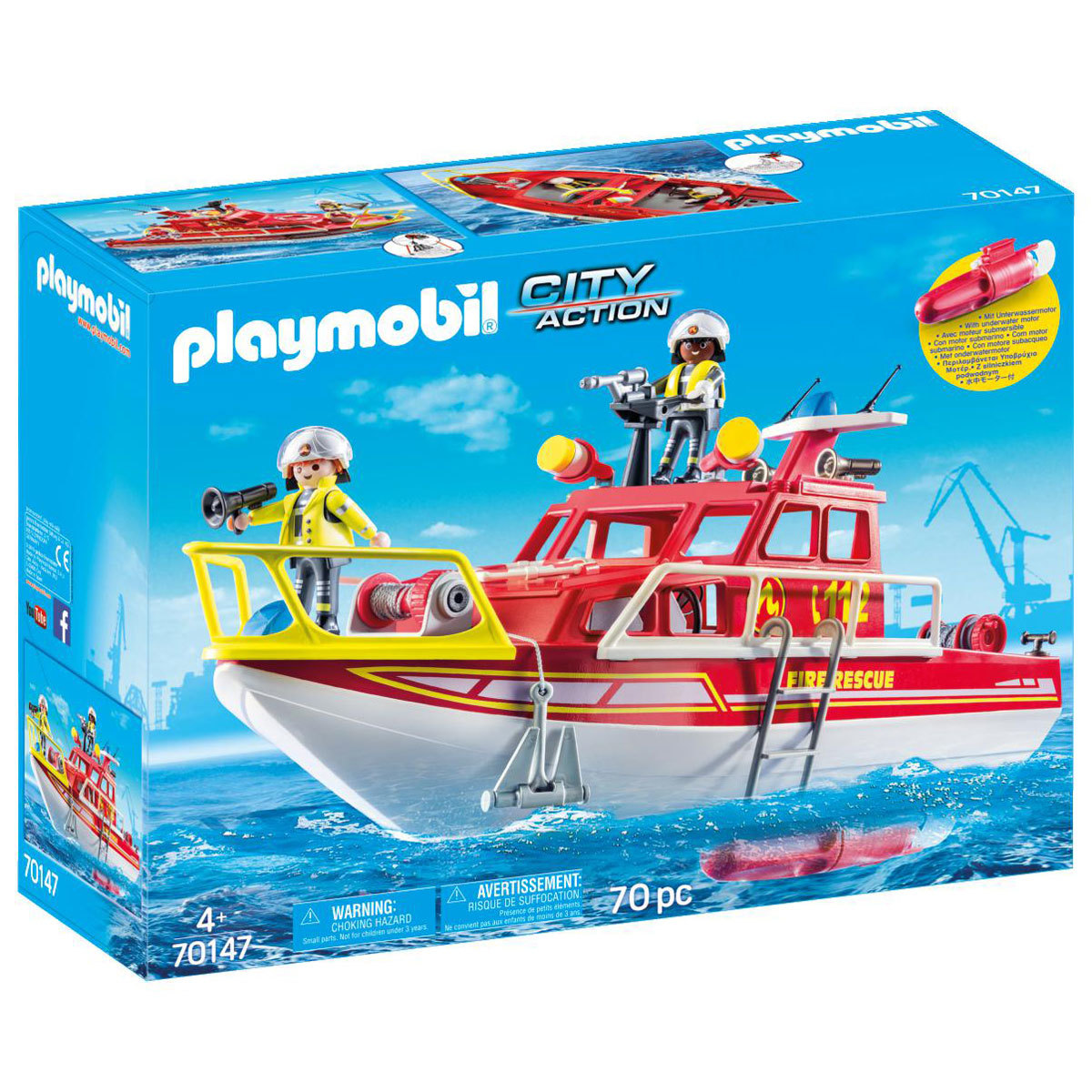 Playmobil 70147 City Action Floating Fire Rescue Boat with Underwater Motor from Early Learning Center