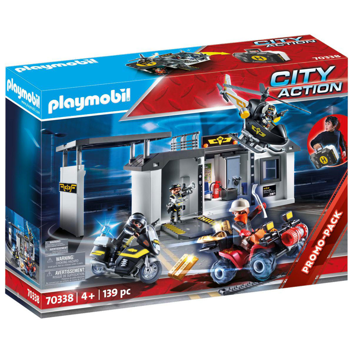 Playmobil 70338 City Action Take Along Police Station with Bikes and Helicopter from Early Learning Center