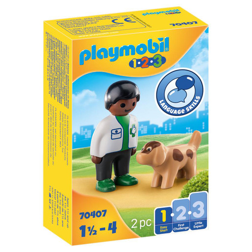 Playmobil 70407 1.2.3 Vet with Dog Figures