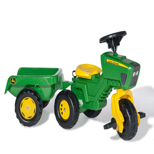 John Deere 3 Wheeled Tractor & Trailer With Electronic Steering Wheel